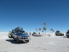 Toyotas and Tourists at the Salar's entrance.